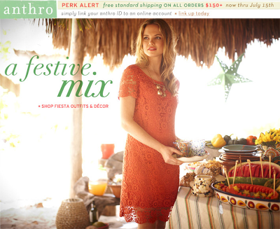 Anthropologie occasionally runs seasonal sales, such as, winter, spring and summer sales, to clear out merchandise for the up coming season. Check out the sale section to find deals of up to 70% off last season's merchandise. Register for the Anthro Card and receive a 15% off coupon on your birthday for regularly priced merchandise.