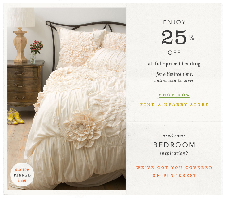Anthropologies Bedding Gets A 25 Off Promo Effortlessly With Roxy