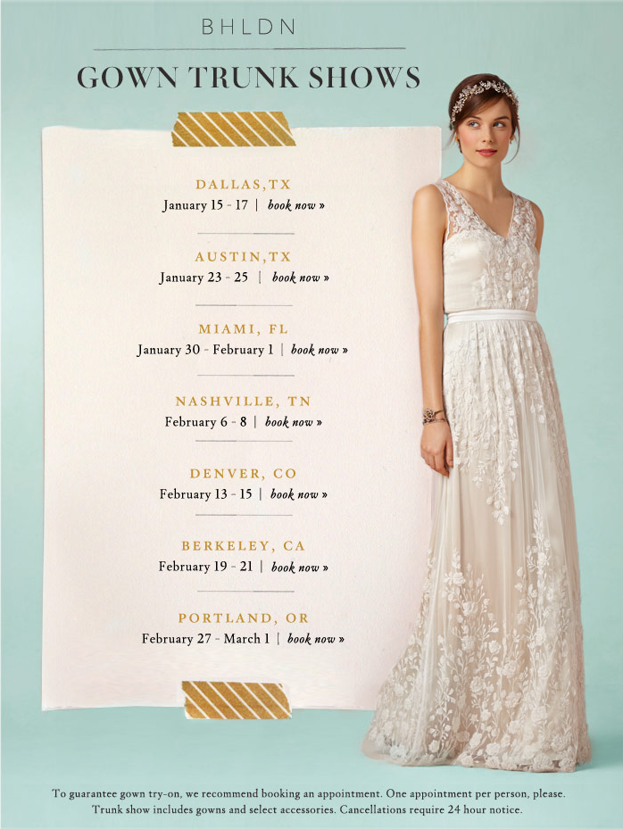 BHLDN updates: trunk shows, sample sale, and a new location ...