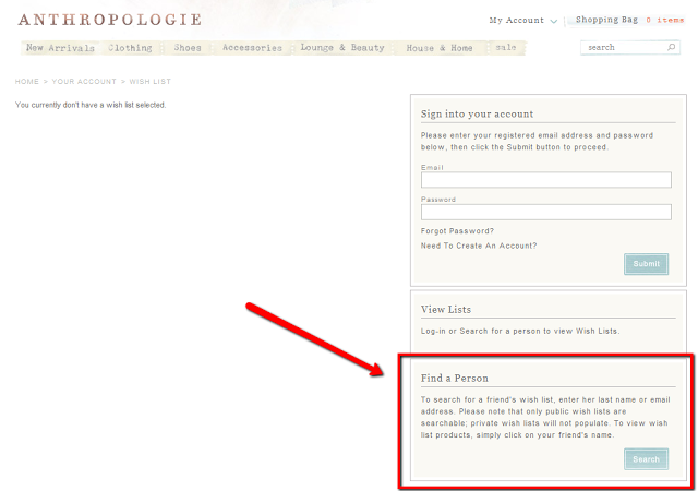 How to find a public Anthropologie.com wishlist :: Effortless Anthropologie